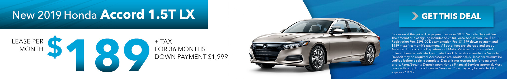 2019 Honda Accord 189 Per Month