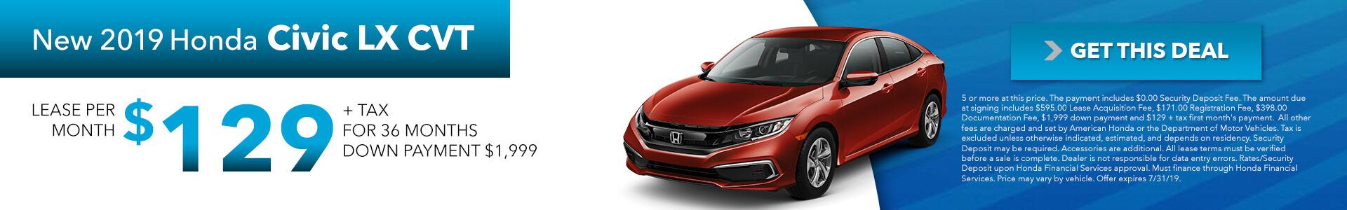 2019 Honda Civic 129 Per Month