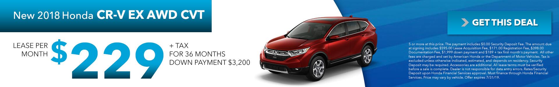 2019 Honda CR-V Lease for 229