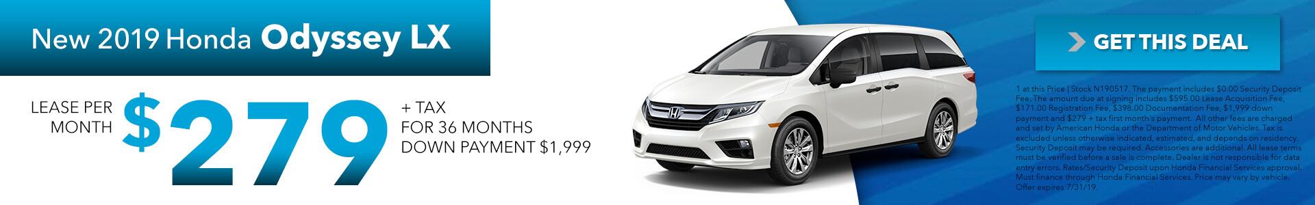 2019 Honda Odyssey 279 Per Month