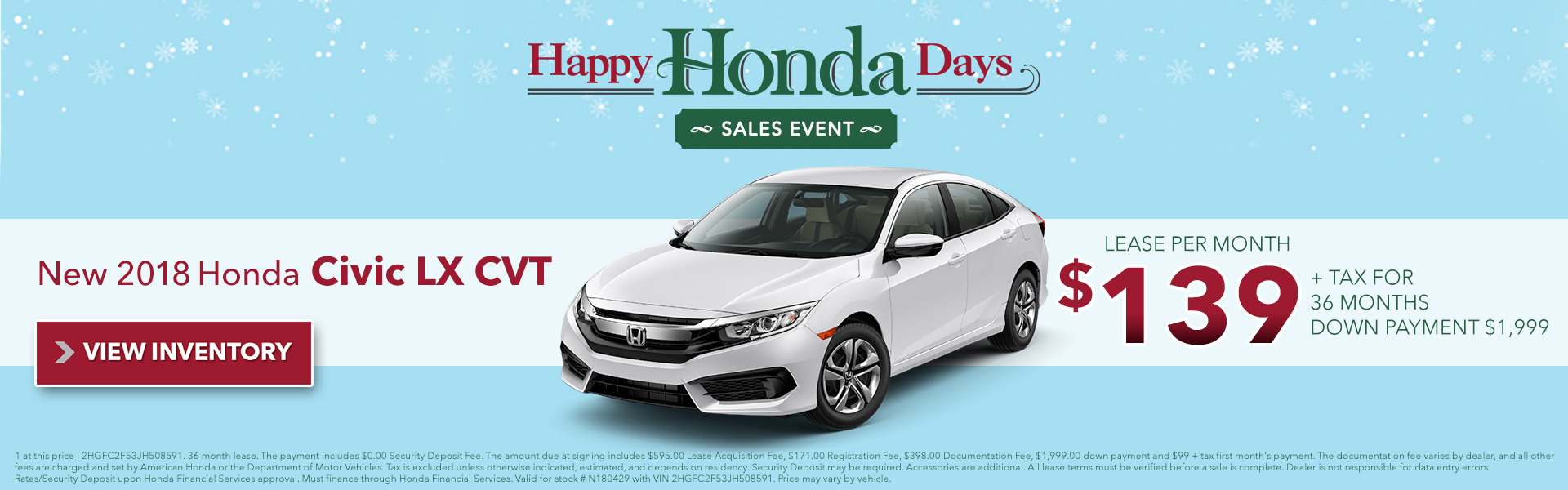 Lease Specials. 2018 Honda Civic LX