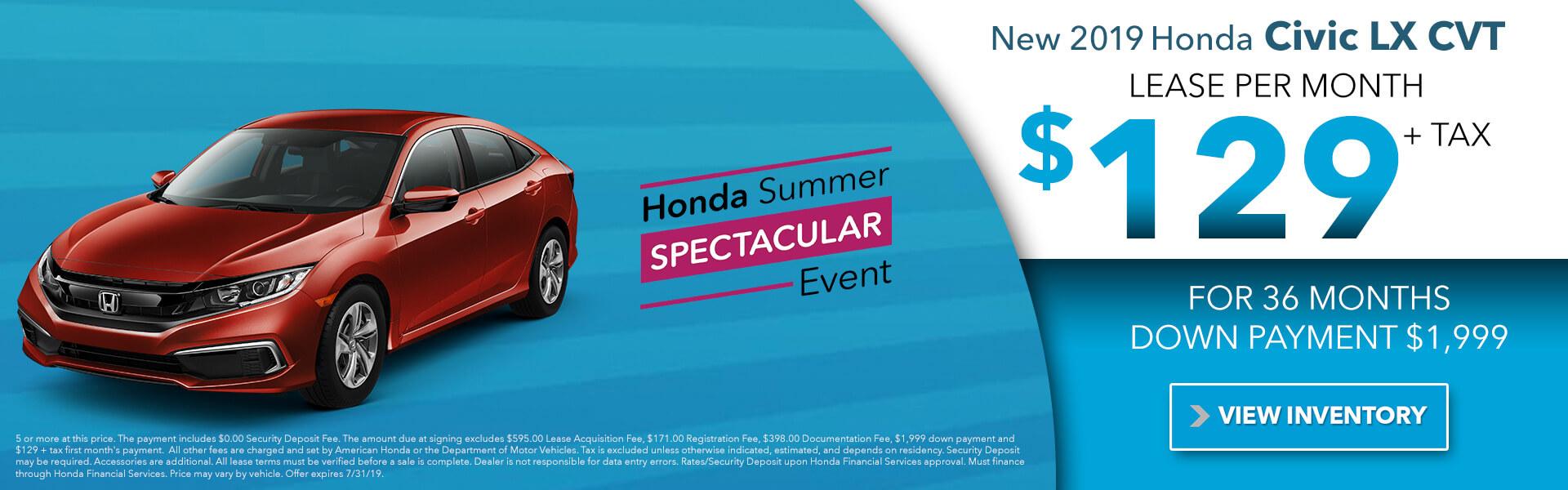 2019 Honda Civic LX CVT $129 per month
