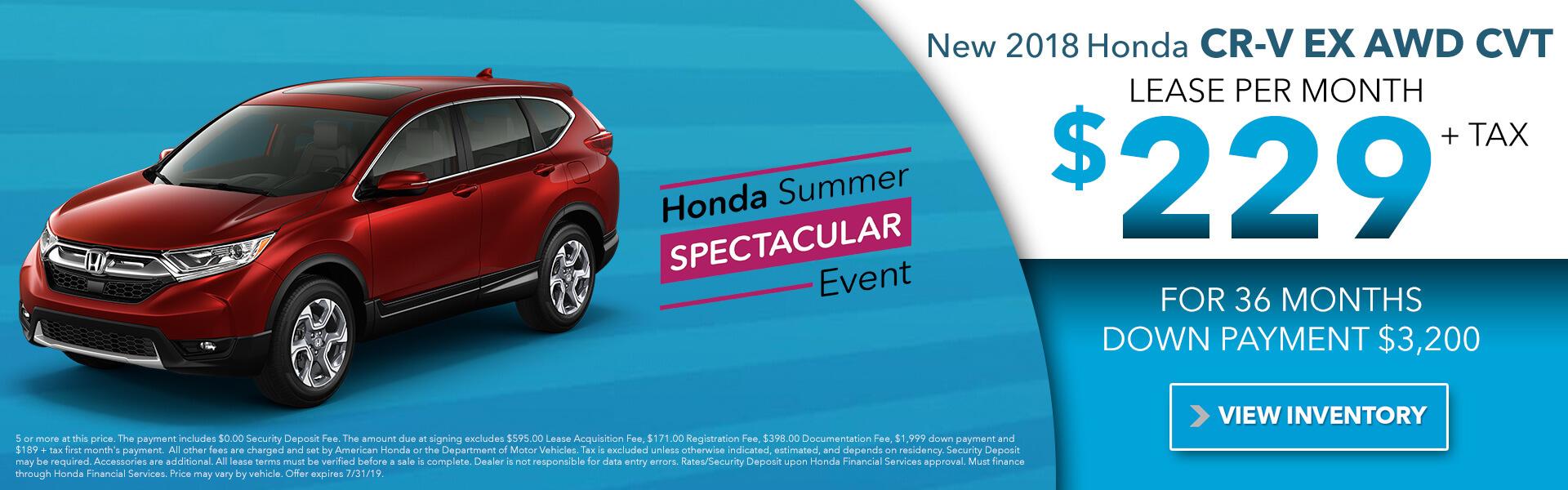 2018 Honda CR-V EX AWD CVT $229 per month