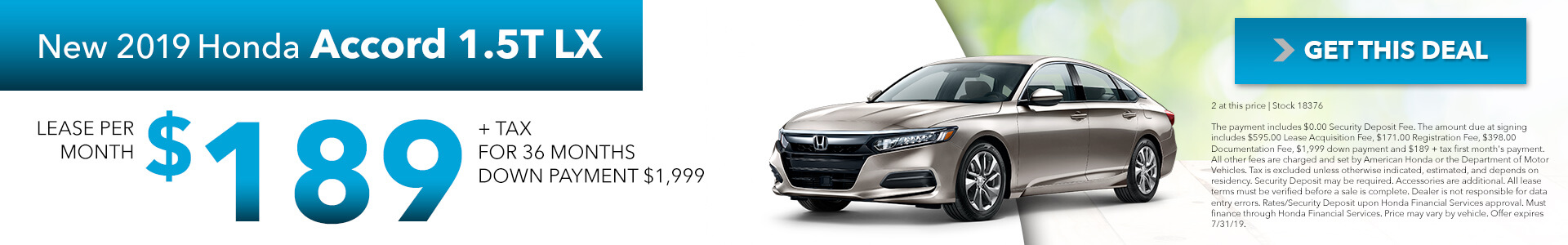 2019 Honda Accord 1.5T LX  $189 per month