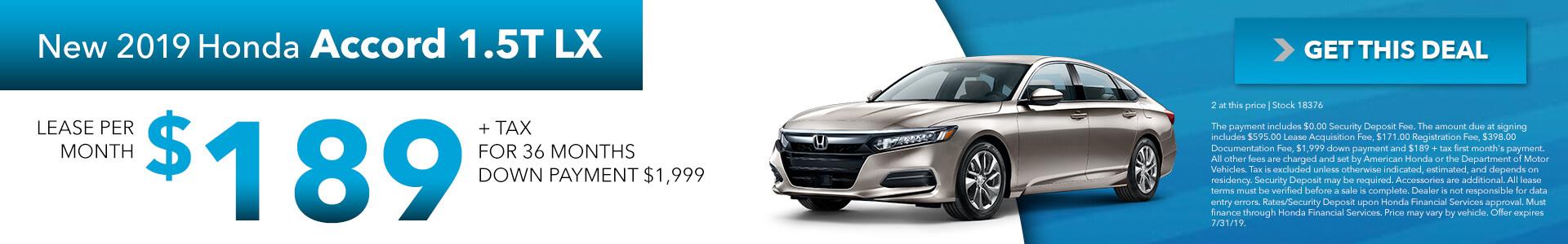 2019 Honda Accord 1.5T LX  $189 per month