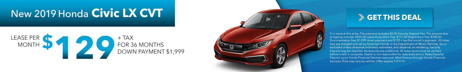 2019 Honda Civic LX CVT $129 per month