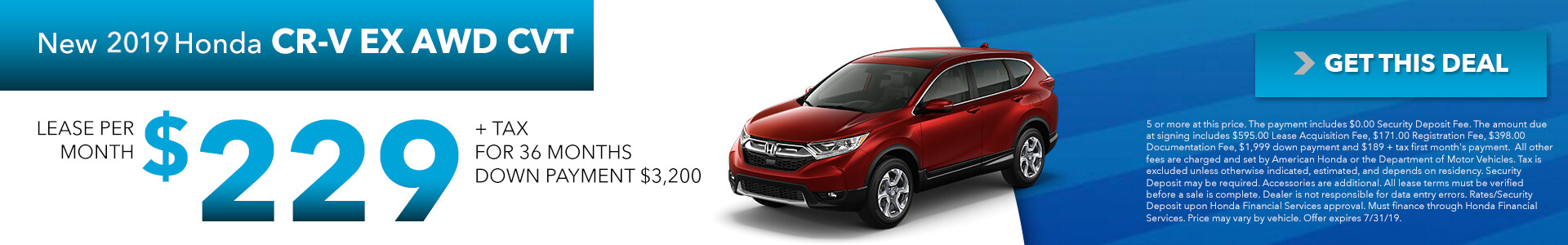 2018 Honda CR-V EX Lease for $229