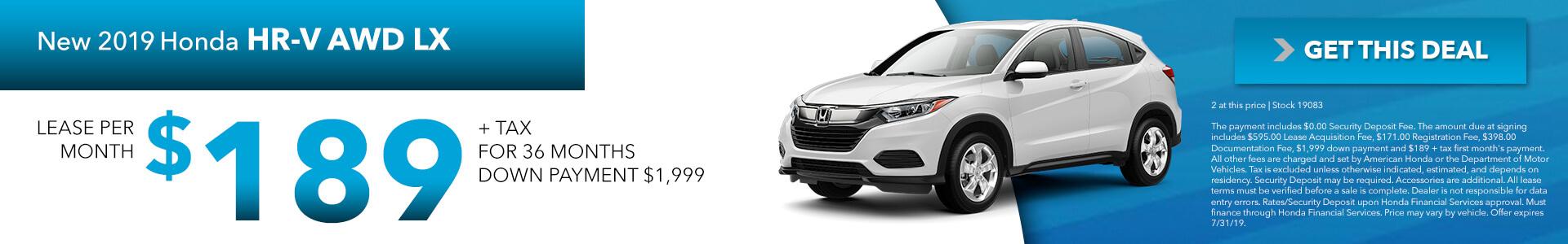 2019 Honda HR-V LX AWD  $189 per month