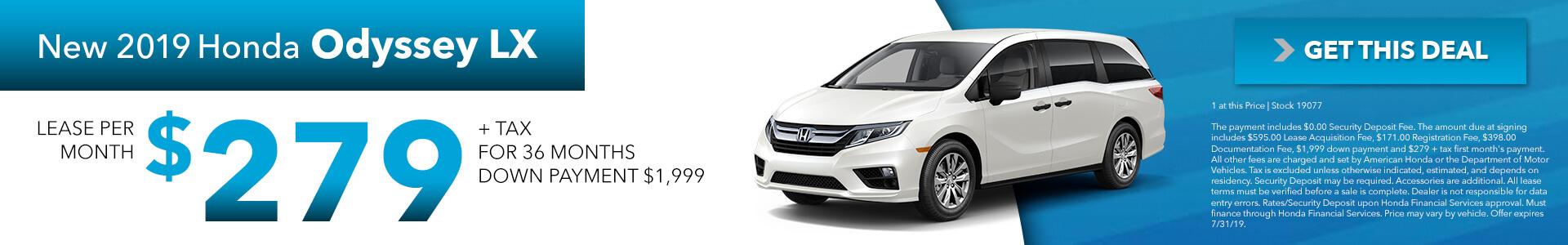 2019 Honda Odyssey LX  $279 per month