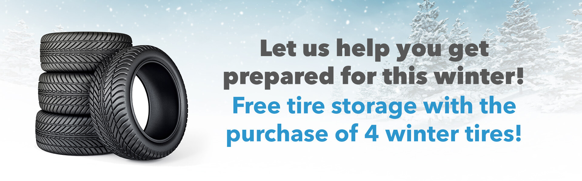 Let us help you get prepared for this winter! Free tire storage with the purchase of 4 winter tires!