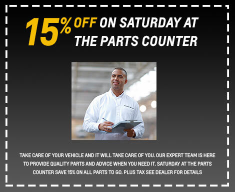 15% Off on Saturday At Parts Counter