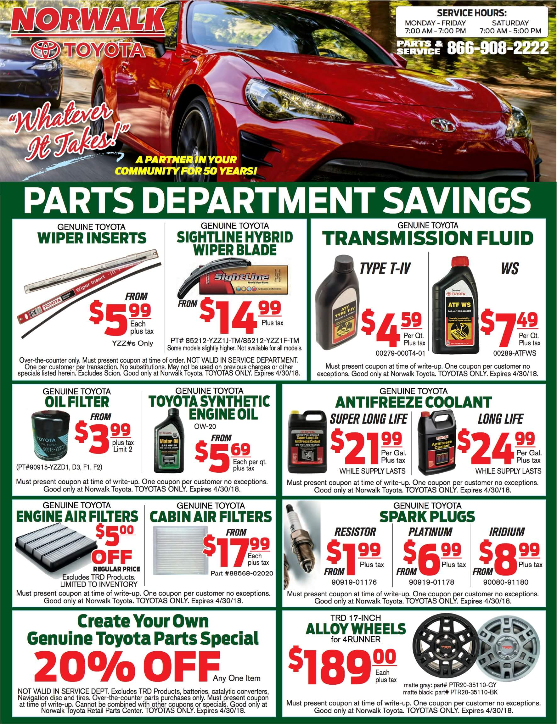 Toyota Parts Online >> Toyota Parts Specials At Norwalk Toyota