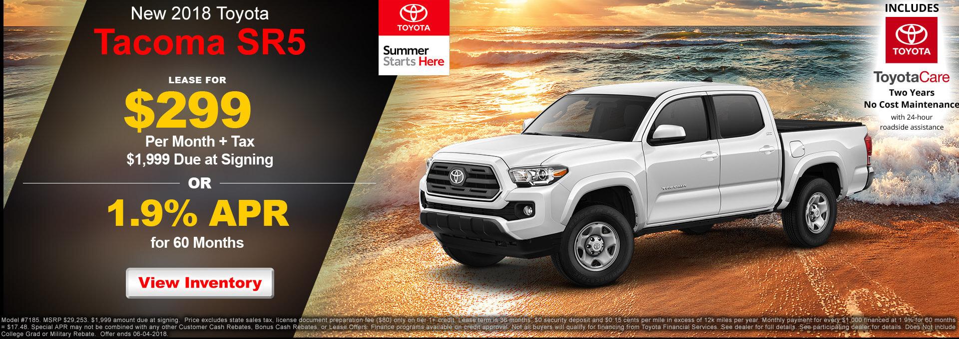 2018 Toyota Tacoma SR5 $299
