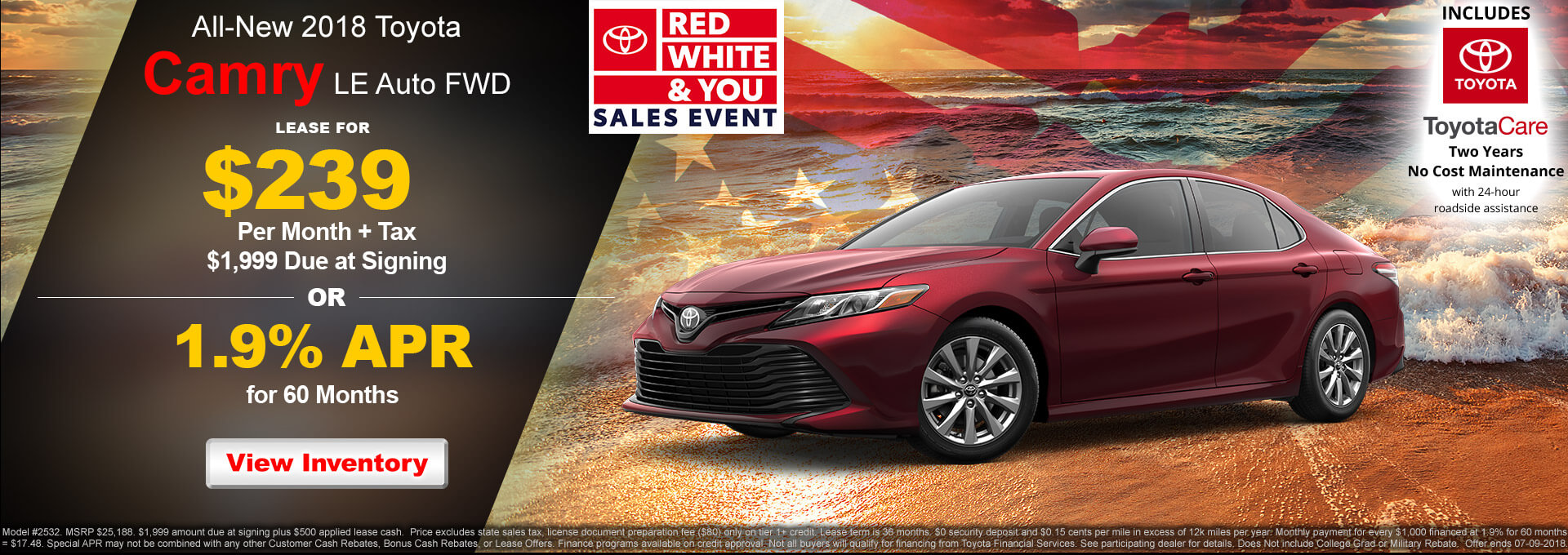 2018 Toyota Camry LE $239