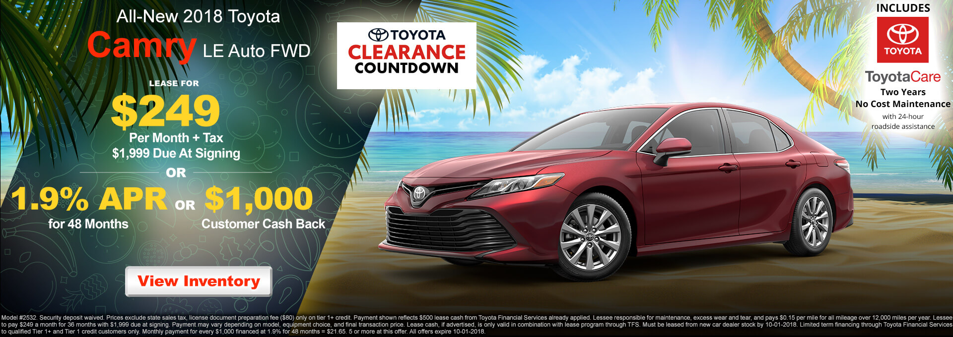 2018 Toyota Camry LE $249