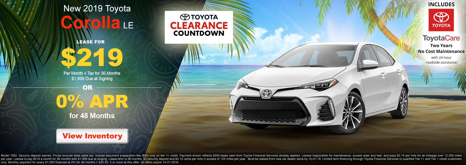 2019 Toyota Corolla LE $219