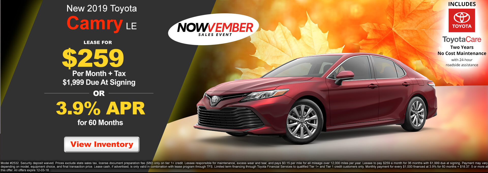 2019 Toyota Camry LE $259