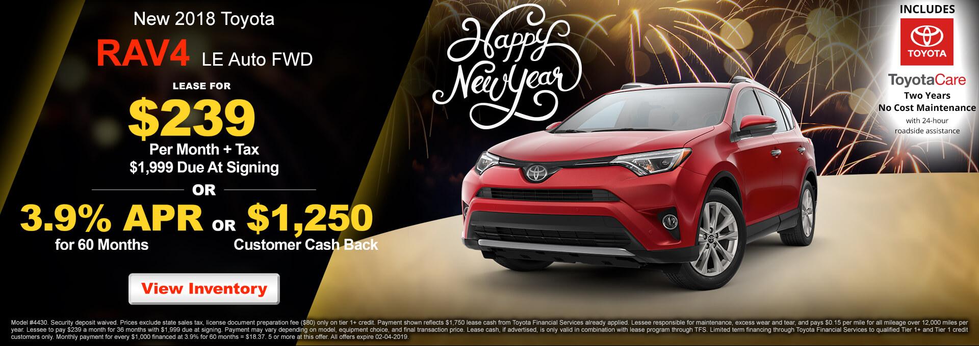 2018 Toyota RAV4 LE $239