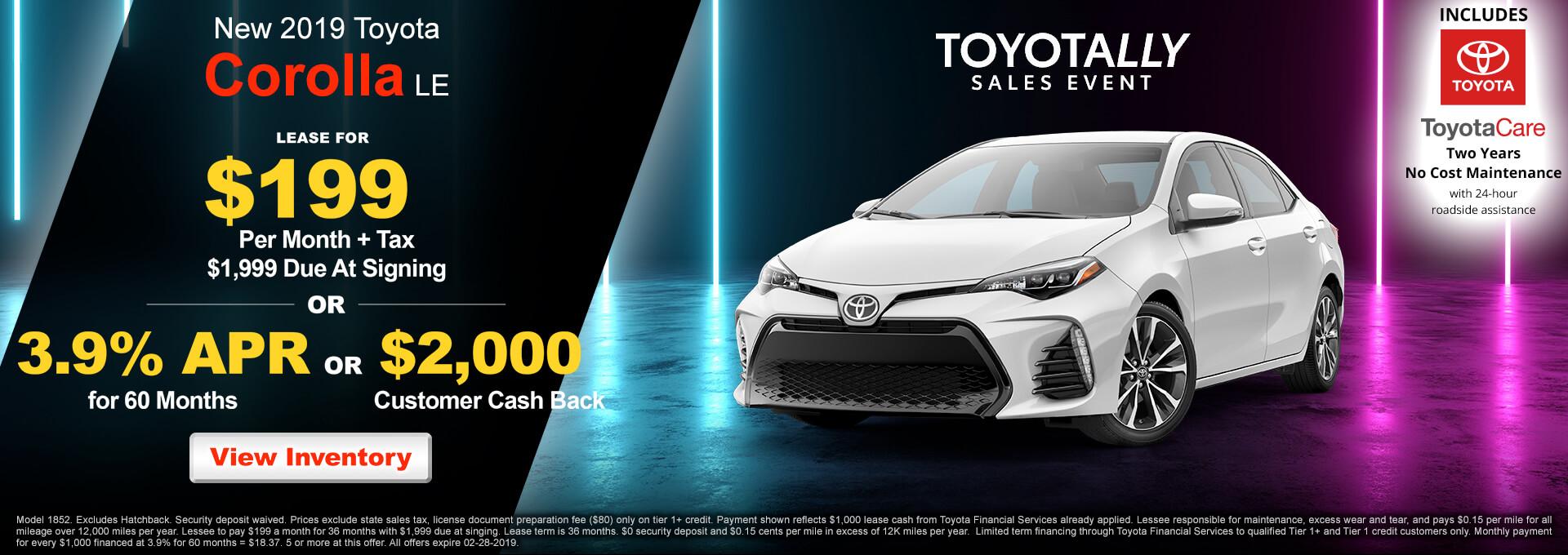 2019 Toyota Corolla LE $199
