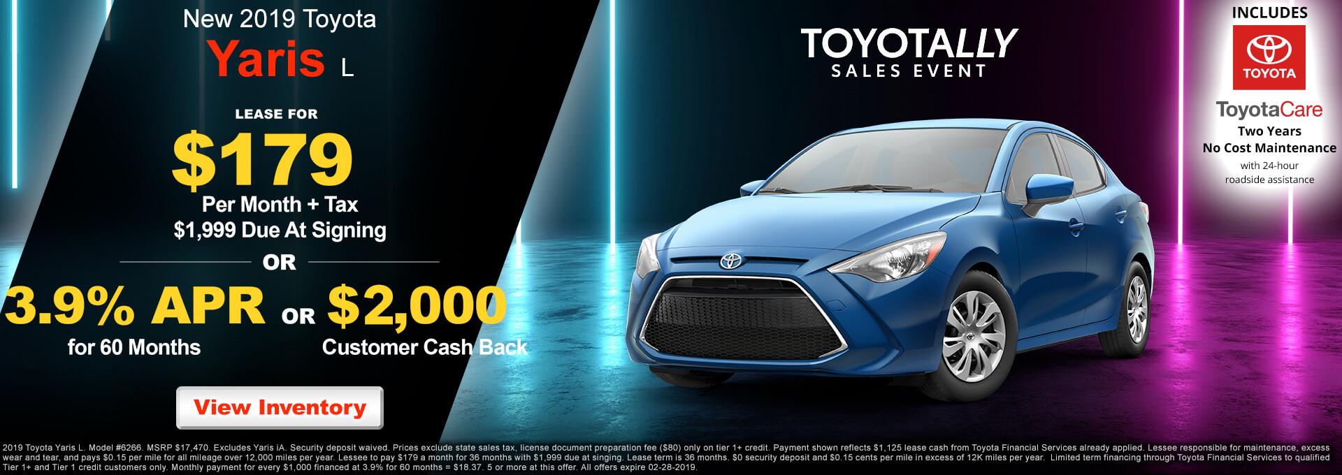 2019 Toyota Yaris $179