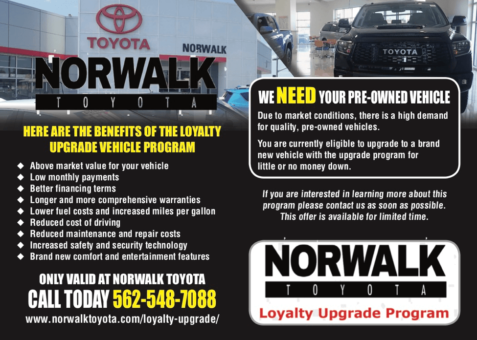 Norwalk Toyota Loyalty Upgrade Program