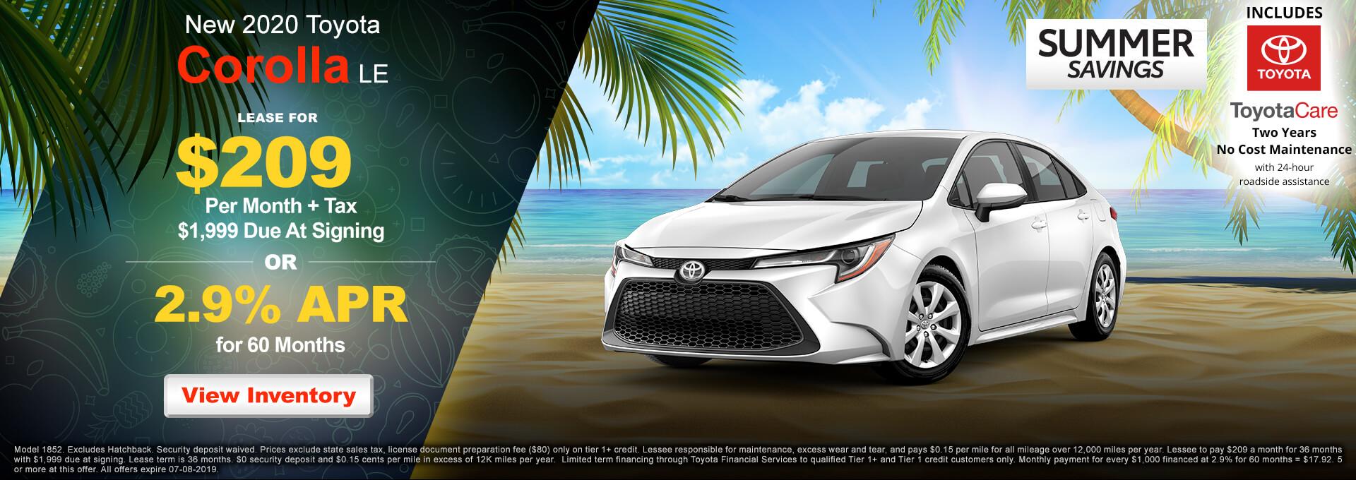 2019 Toyota Corolla LE $209