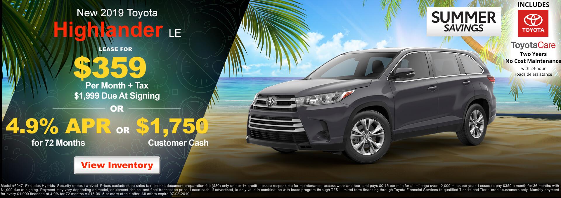2019 Toyota Highlander $359