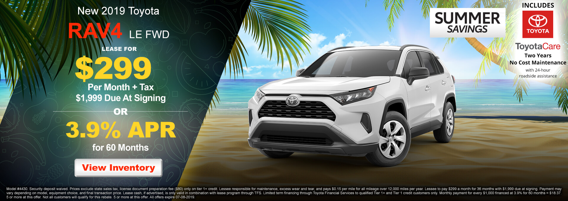2018 Toyota RAV4 LE $299