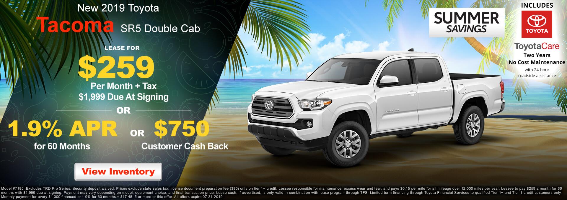 2019 Toyota Tacoma SR5 $259