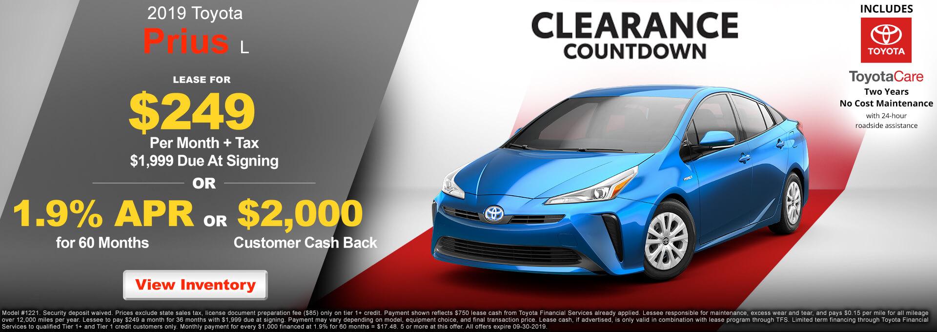 2019 Toyota Prius $299