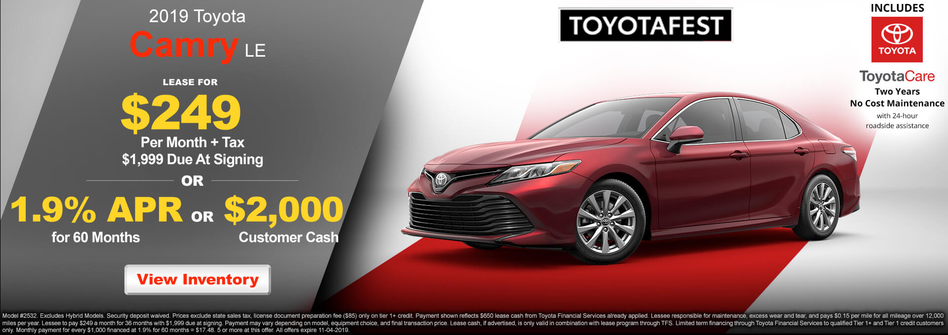 2019 Toyota Camry LE $249