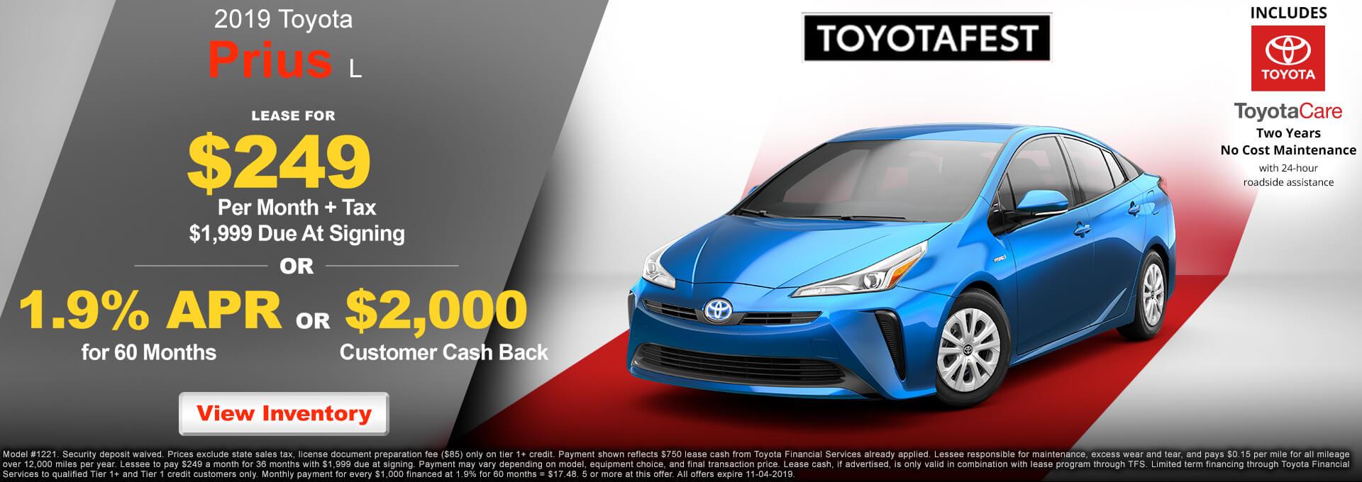 2019 Toyota Prius $249