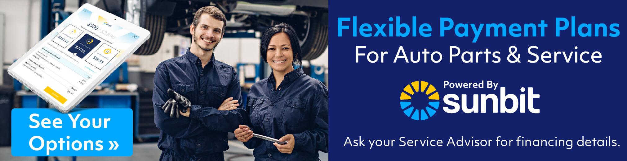 Flexible Payment Plans for Auto Parts & Service Powered by Sunbit