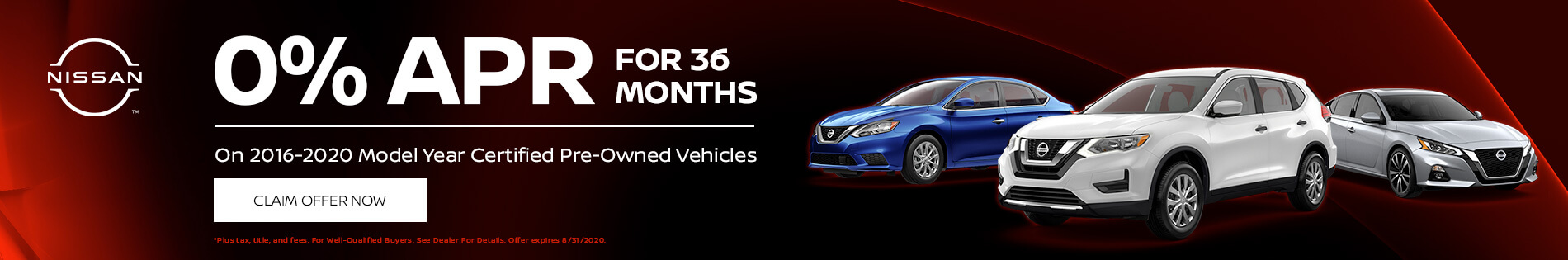 0% APR for 36 months on 2016-2020 Model Year Certified Pre-Owned Vehicles