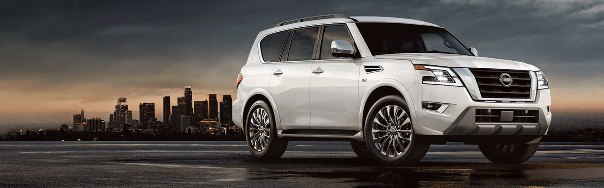 2022 Nissan Armada with city in background