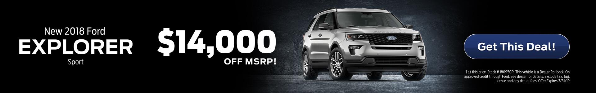 Ford Explorer $14,000 Off MSRP