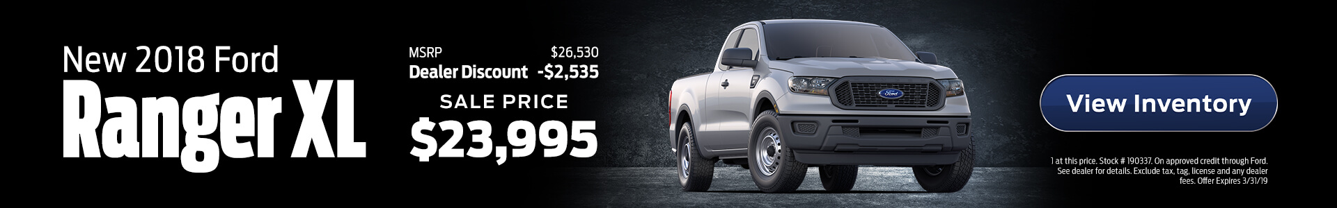 Ford Ranger $23,995 Purchase