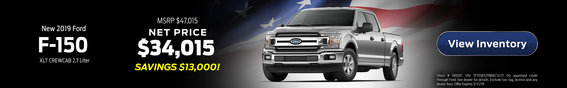 2019 Ford F-150 $34,015 Purchase
