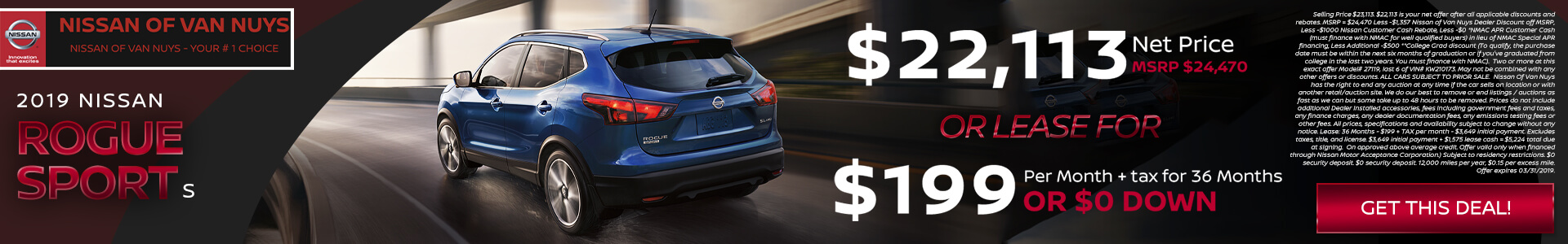 Nissan Rogue Sport $22,113 Purchase/Lease