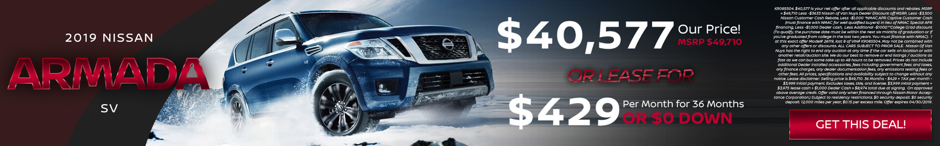 Nissan Armada $40,577 Purchase