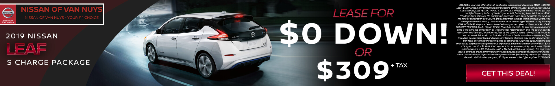 Nissan Leaf $29,728 Purchase/Lease