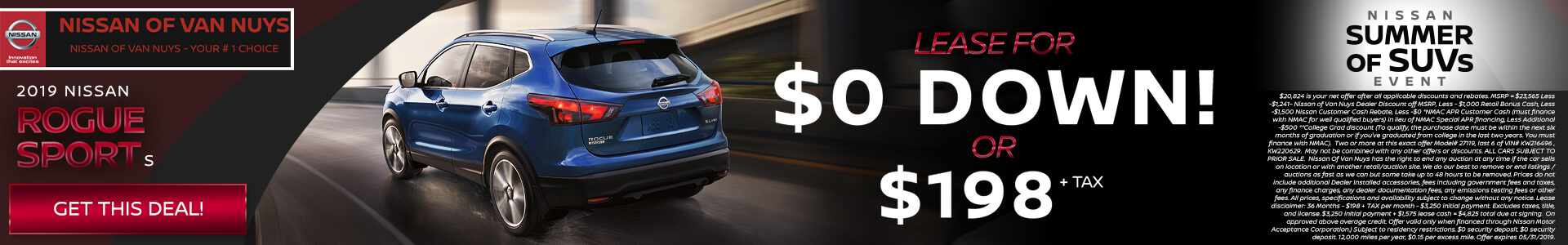 Nissan Rogue Sport $20,824 Purchase/Lease