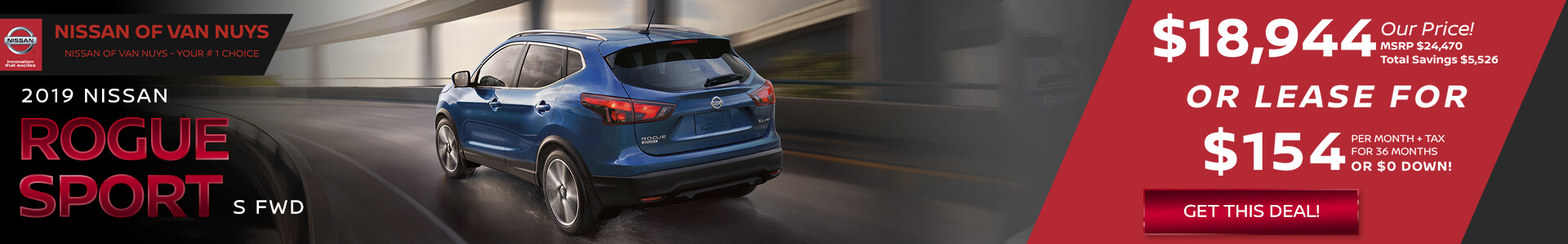 Nissan Rogue Sport - $18,944 Purchase/Lease