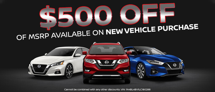 $500 Off Of MSRP Available on New Vehicle Purchase