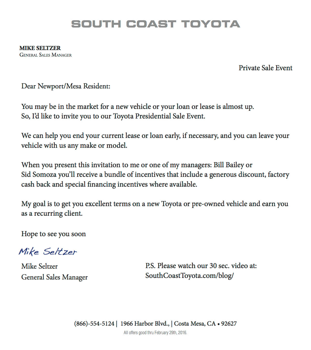 Your invitation from south coast toyota general sales manager mike sct cover letter stopboris Images