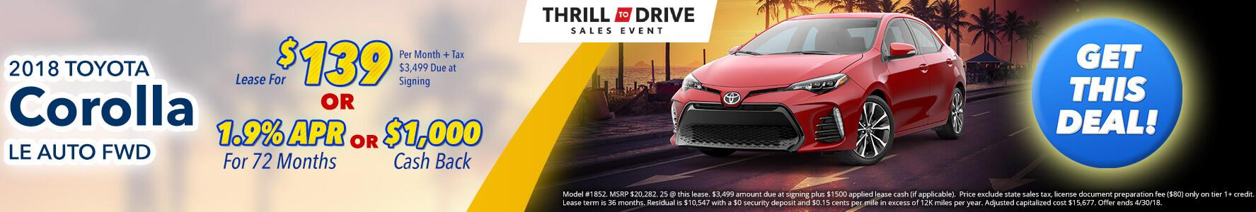 Toyota Corolla $139 Lease