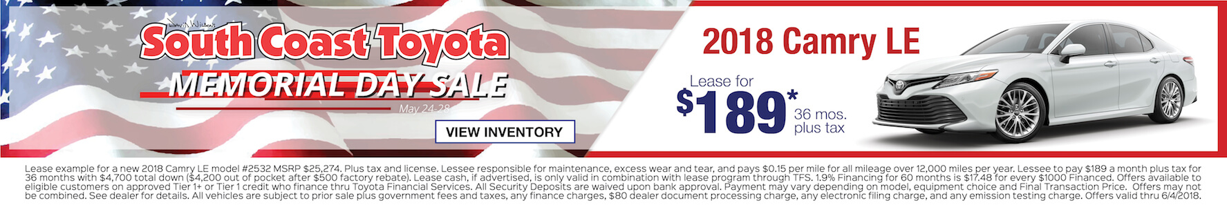 Memorial Day Toyota Camry $189 Lease