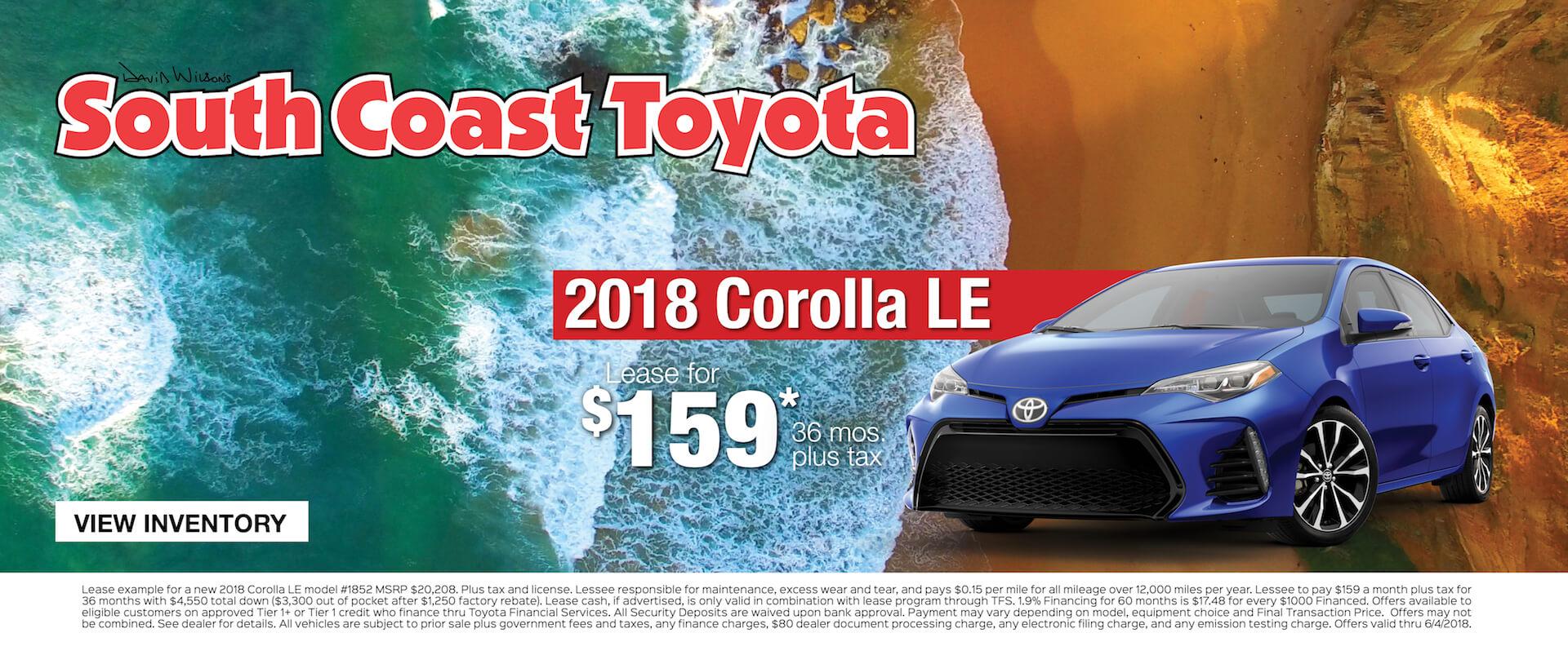 Toyota Corolla $159 Lease