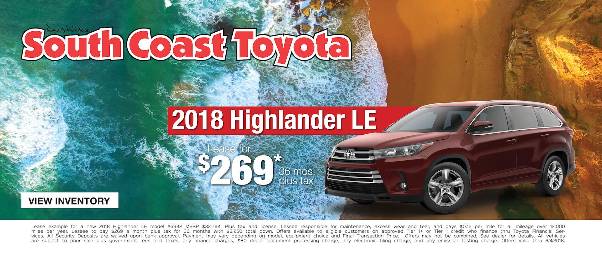 Toyota Highlander $269 Lease