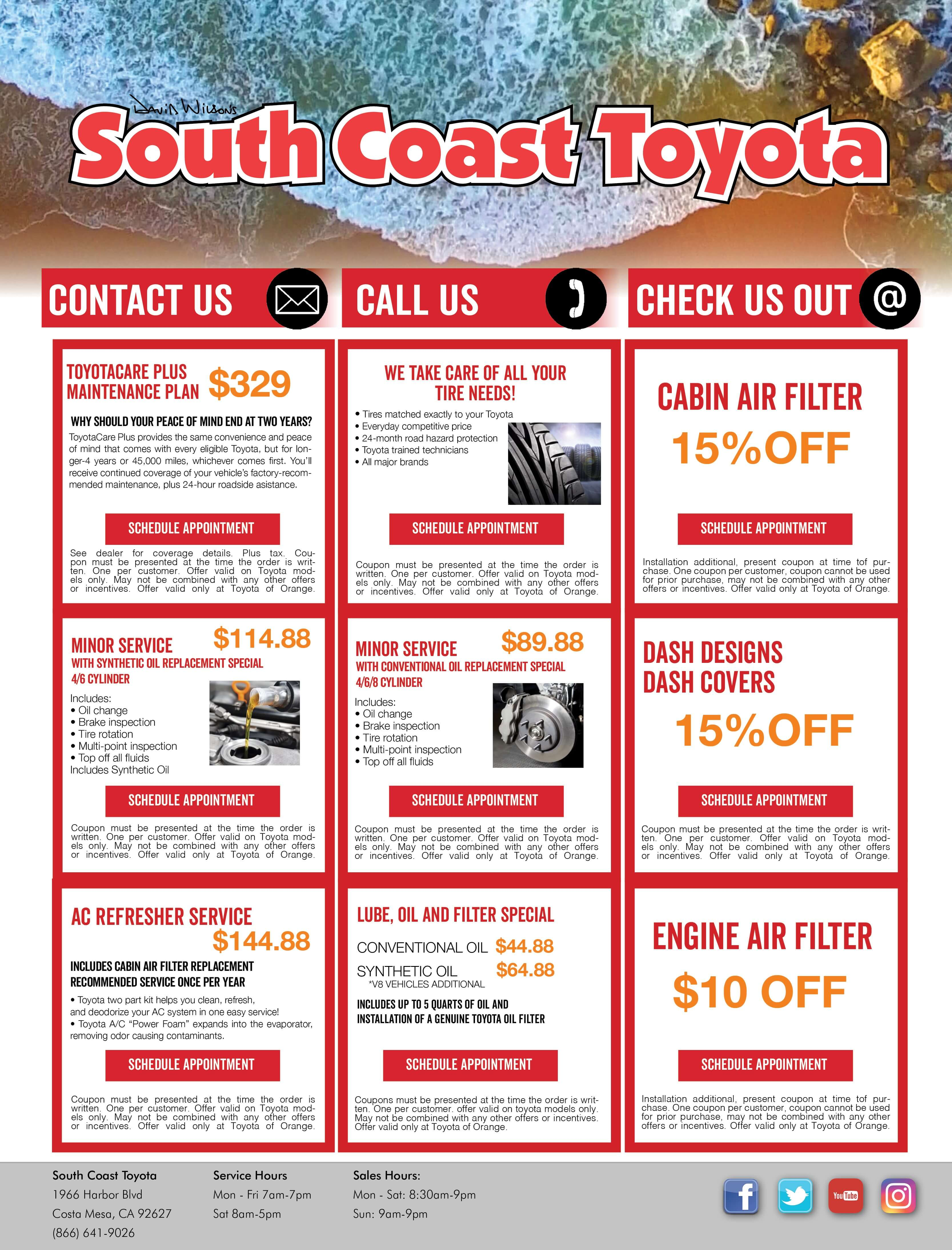 Toyota Service Coupons. South Coast Toyota